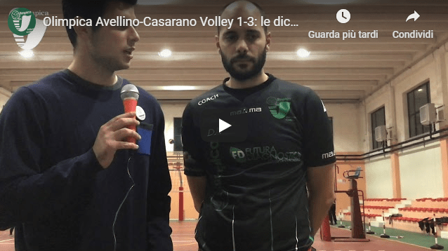 Olimpica Avellino-Casarano Volley 1-3: le dichiarazioni di Amodeo post partita (Video)